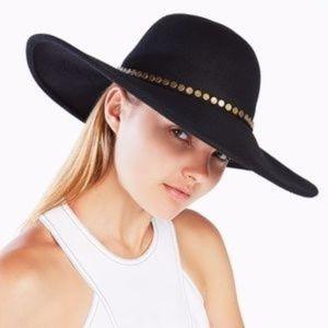 Bcbgmaxazria Black Studded Floppy Hat